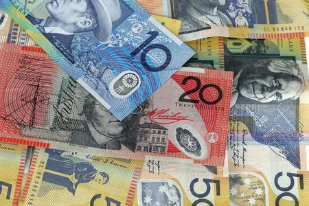 monies: Australian money background Stock Photo