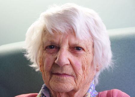 Old woman portrait, 93 years old. Banque d'images