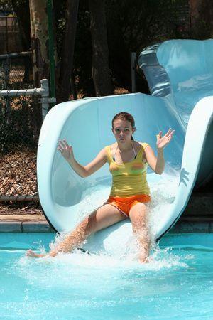 Girl Water slide Stock Photo - 822864