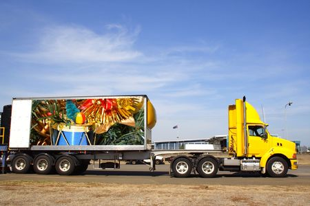 Semi trailer delivering christmas goods. Original photo on trailer by photographer photo