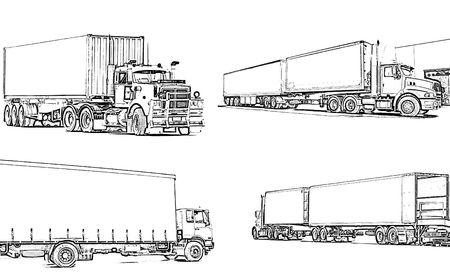 Illustration artictulated semi trucks