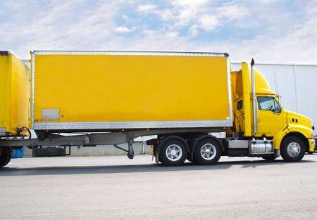 Double trailer semi truck photo