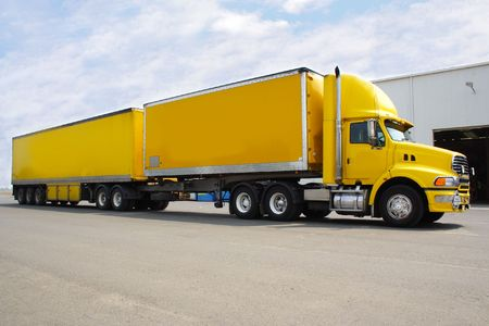 Double trailer semi truck Stock Photo - 840841