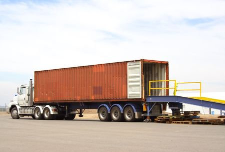 Semi truck backed onto loading dock Stock Photo - 840839