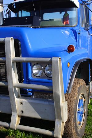 front end: Small blue truck front end