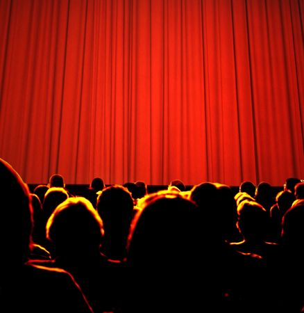 theater seat: Business audience waiting for seminar Stock Photo