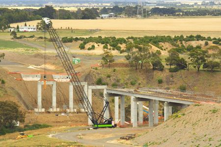 erect: New bridge under construction Stock Photo
