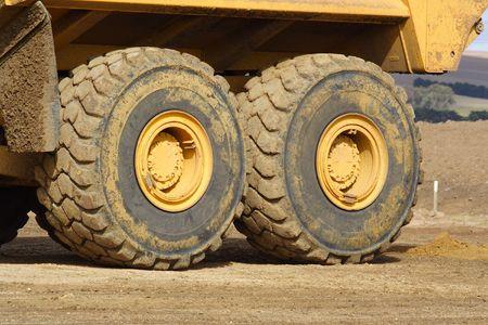 dumptruck: Big wheels of large dump truck