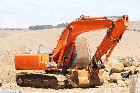 earthmover: Large orange earthmover