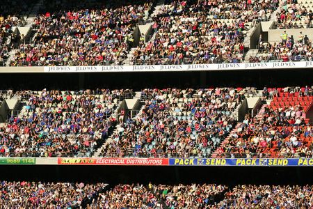 afl: Melbourne Australia - April 23 2008. Crowd at the AFL football enjoy the game at the Dome