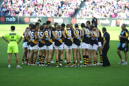 afl: Melbourne Australia - April 23 2008. Richmond tigers football team gruop at half time at the Dome Editorial