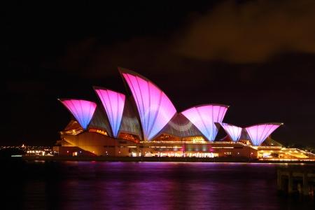 Sydney Australia May 28 2011: Vivid Sydney again transformed the Opera house with a dazzling light display. Sydney Australia