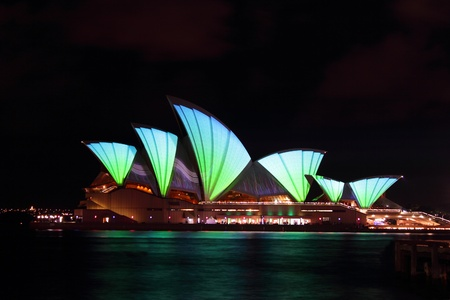 Sydney Australia May 28 2011: Vivid Sydney again transformed the Opera house with a dazzling light display. Sydney Australia Stock Photo - 9638391