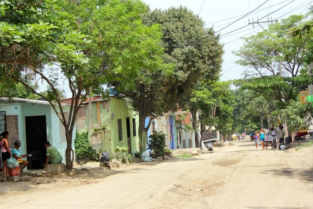 SANTA MARTA, COLOMBIA - June 6: A typical street in a poor area down town Santa Marta June 6, 2011 in Santa Marta Colombia Stock Photo - 13072923
