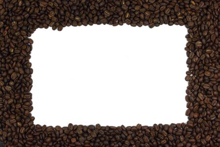 A frame made from dark roasted coffee beans. Add your text in here.