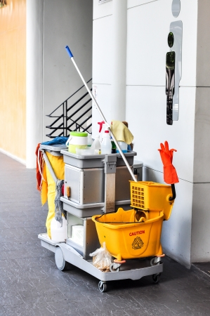 janitor: Bathroom cleaning kit  Stock Photo