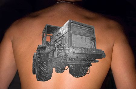 Tattoo &quot,Owl&quot, on a back of the sportsman. A collage. Stock Photo