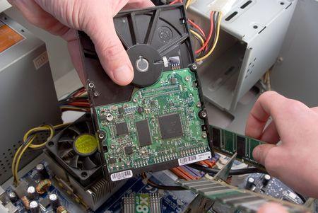 Computer upgrade, installation of computer details close up.