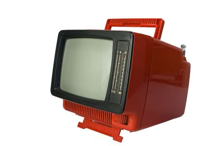 Red retro the TV close up on a white background