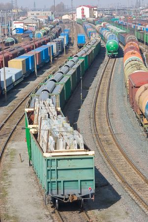 A series: railway depot, a sight from height.