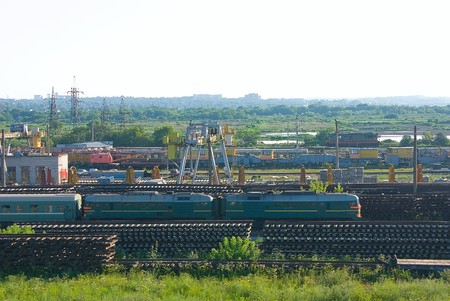 considerable: Railway warehouse with a considerable quantity a rail