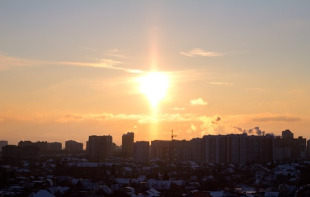 urbanistic: sunset over a city.