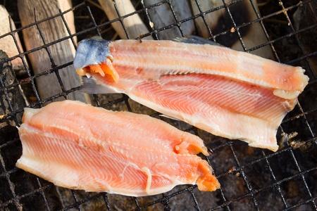 Fried fish humpback salmon , fillet (Oncorhynchus gorbuscha) photo