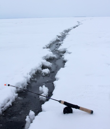 ices: Crack in the ices, dangerous border of a tear off  ice in the sea