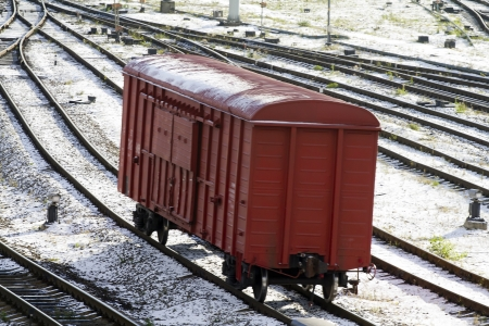 Freight cars in cargo port in the late autumn photo
