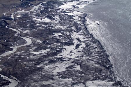 shove: glacier edge and shove moraine. North island, Novaya Zemlya. Siberia Stock Photo