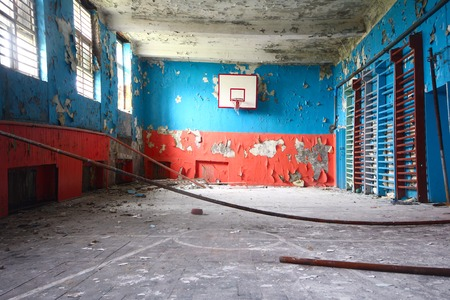 basketball and  gym at thrown school photo