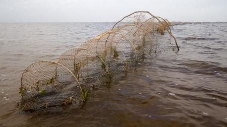 fishingnet: industrial net  trap on lake in summer