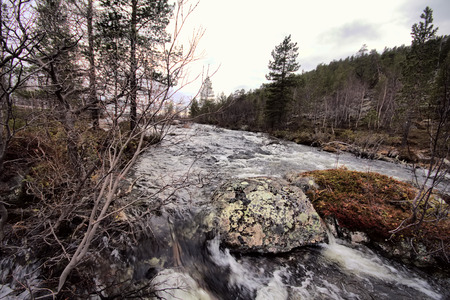 rifts: Rapid river in  forest,  rifts. It is raining.  noise of  river Stock Photo