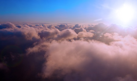 transcendental: cloudscape at the height in the atmosphere