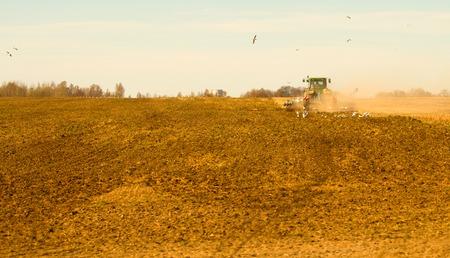 crop margin: tractor arando un campo en primavera Foto de archivo