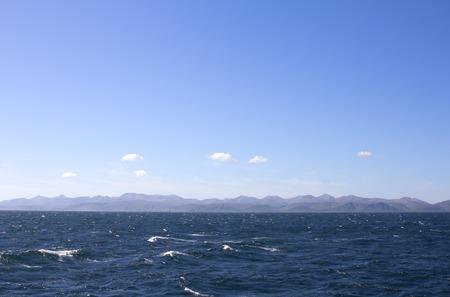 commander: Pacific ocean. commander Islands. Strait between the Islands of Bering and Medniy Stock Photo