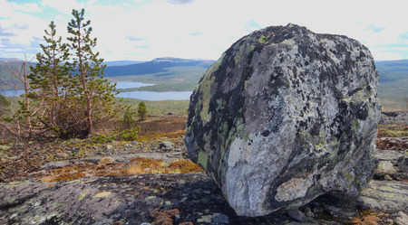 worshipped: Stone of a peculiar form, worshipped by  Saami.