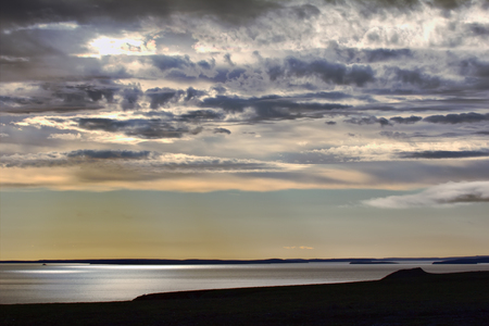 nuclear bomb: View from South to Bay Chernaya - atomic test site. It is site for surface and underwater nuclear bomb tests. Russian Arctic Stock Photo