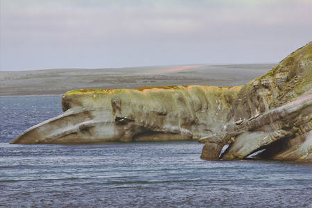 coastal erosion: The Cape whale in the Barents sea, Novaya Zemlya archipelago, South island Stock Photo