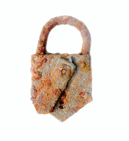 prison system: arity very rusty old door lock isolated on white Stock Photo