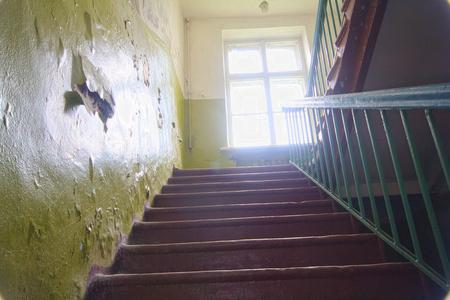 second floor: ladder on second floor in old school building