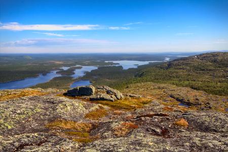 saami: Plateau (fjelds) in Lapland, Mountain tundra, lake and old mountains, Panorama Stock Photo