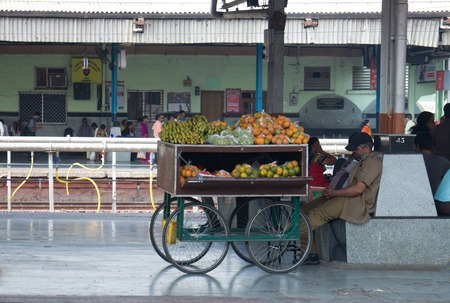 nagpur: Nagpur, India -February 21, 2016: mobile fruit vendor with cart