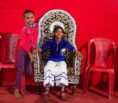 nagpur: India, Nagpur - February 18, 2016:  boy and girl in the interiors and venue of the wedding ceremonies in India