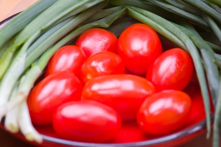 crudite: Tomatoes and onion food from eco farm