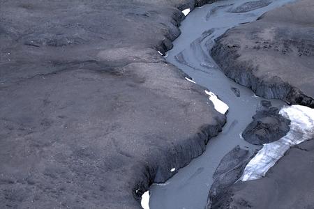north island: Glacial spillway and its overland delta. North island, Novaya Zemlya. Kara Sea, Siberia