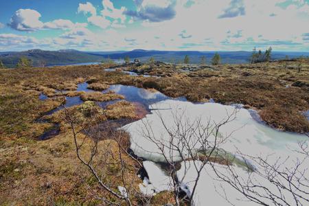educacion ambiental: spring mountain polar tundra  snow melting
