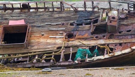karkas: graveyard of ships left for a very long time Stockfoto