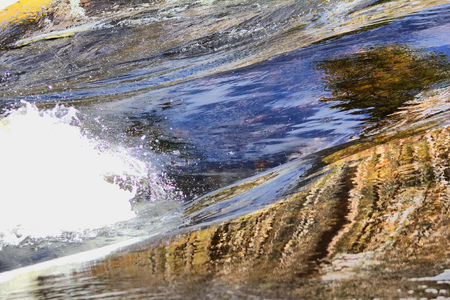 rapidly: Rapidly flowing water pictured close up. Sound of river