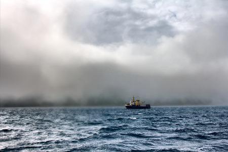 trawler net: Fishing trawler during a storm in Pacific ocean near Commander Islands. Kamchatka